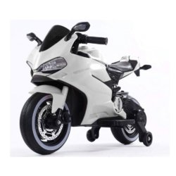 Детский электромотоцикл Ducati 12V- FT-1628 белый (колеса резина, сиденье кожа, музыка, страховочные колеса, ручка газа)